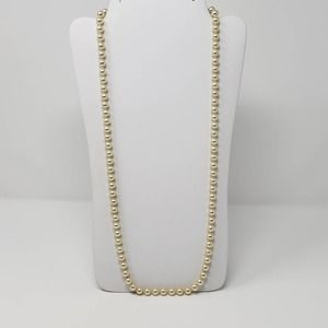 Cream Faux Pearl Glass Bead Strand String Necklace